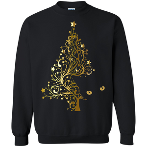 Black Cat Christmas Tree Crewneck Pullover Sweatshirt