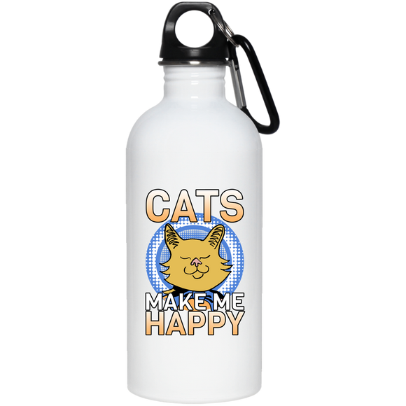 Cats Make Me Happy 20 oz. Stainless Steel Water Bottle