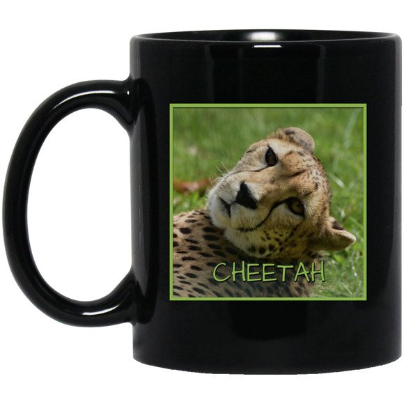 Cheetah Square 11 and 15 oz Black Mugs