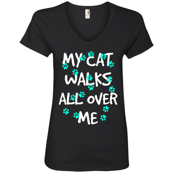 My Cat Walks All Over Me - Turquoise Pawprints Ladies V-Neck T-Shirt