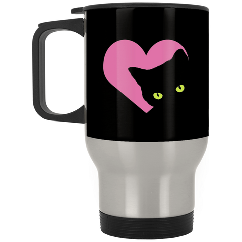 Black Cat Heart Stainless Steel Travel Mug