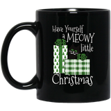 Meowy Little Christmas 11 and 15 oz Black Mugs