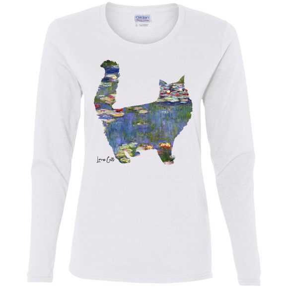 Cat Lilies Ladies Long Sleeve T-Shirts