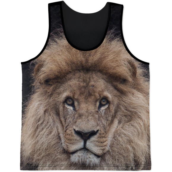 Lion Face All Over Front Print Tank Top