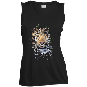 Disappearing Leopard Ladies Sleeveless Moisture Absorbing V-Neck