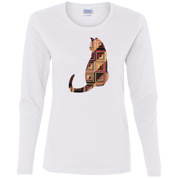 Log Cabin Cat Ladies Long Sleeve T-Shirts