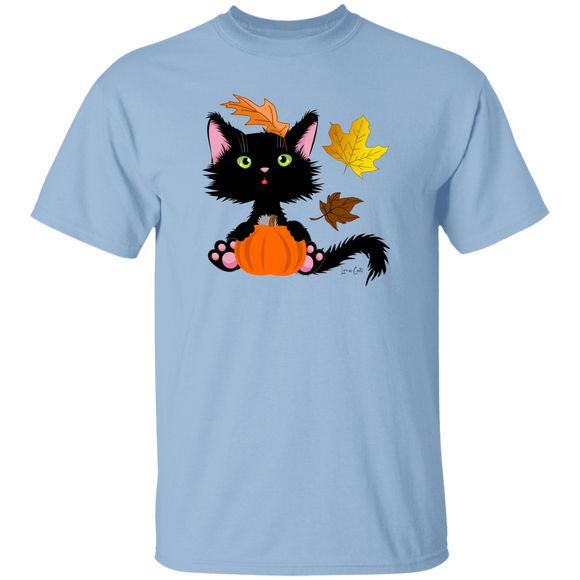Lucky the Black Cat with Pumpkin T-Shirt