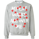 My Cat Walks All Over Me Crewneck Pullover Sweatshirt