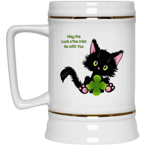 Lucky the Black Cat with Shamrock Beer Stein 22oz.