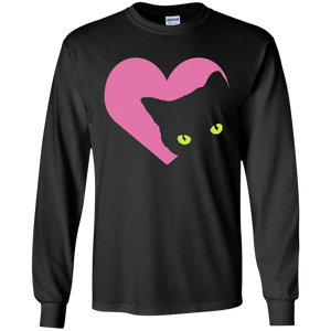 Black Cat Heart LS Ultra Cotton T-Shirt
