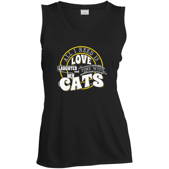 TIME with My Cats Ladies Sleeveless Moisture Absorbing V-Neck