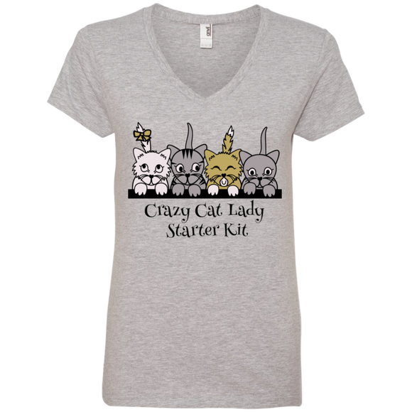 Crazy Cat Lady Starter Kit Ladies V-Neck T-Shirt