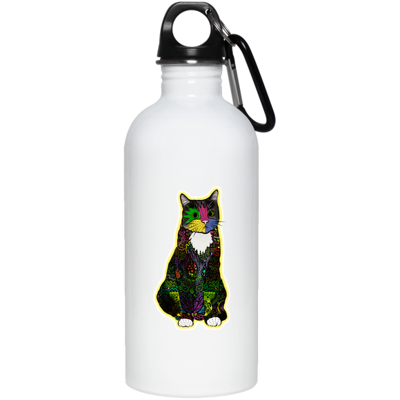 Colorful Tuxedo Cat 20 oz. Stainless Steel Water Bottle