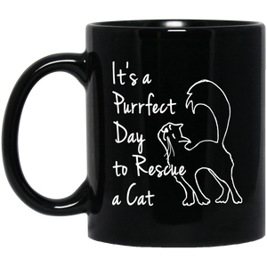 Purrfect Day 11 and 15 oz Black Mugs