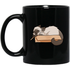 Box Cat 11 and 15 oz Black Mugs