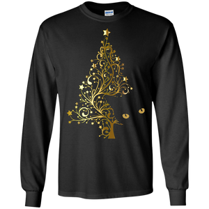 Black Cat Christmas Tree LS Ultra Cotton T-Shirt