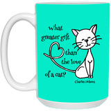 Dickens Cat 11 and 15 oz White Mugs