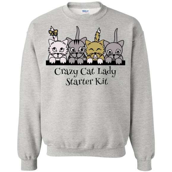 Crazy Cat Lady Starter Kit Crewneck Pullover Sweatshirt