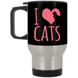 I Heart Cats Stainless Steel Travel Mug