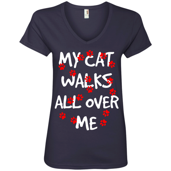 My Cat Walks All Over Me Ladies V-Neck T-Shirt