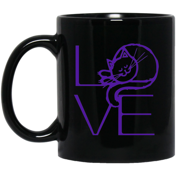 LOVE Cat 11 and 15 oz Black Mugs