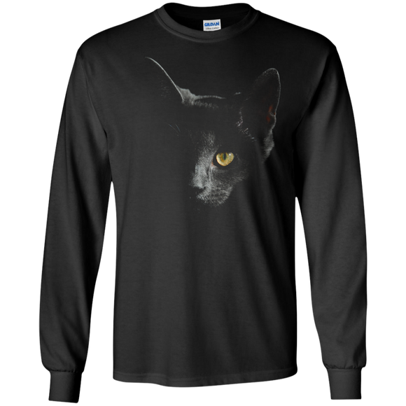 Smokey Gray Cat Face LS Ultra Cotton T-Shirt