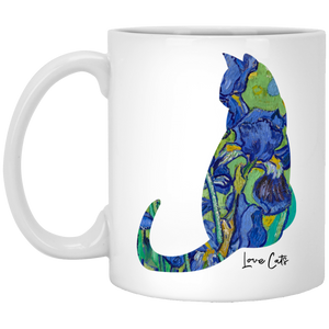 Iris Cat 11 oz. White Mug