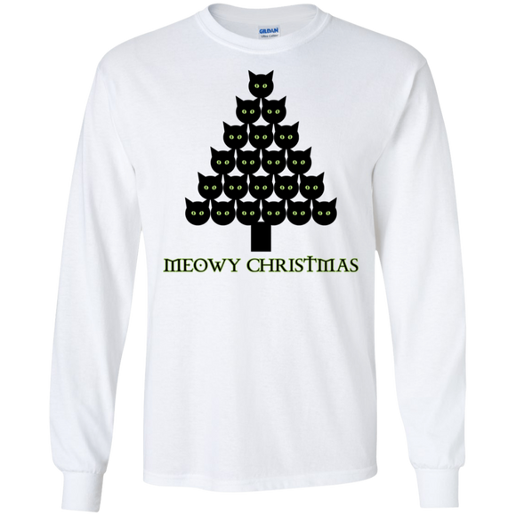 Meowy Christmas Tree LS Ultra Cotton T-Shirt