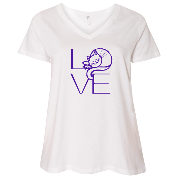 LOVE Cat Ladies Curvy T-Shirts