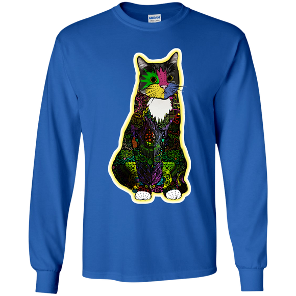 Colorful Tuxedo Cat Youth LS T-Shirt