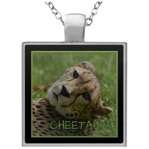 Cheetah Square Square Pendant Necklace