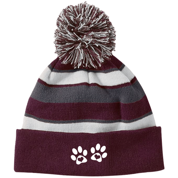 Heart Paw Print Striped Beanie with Pom