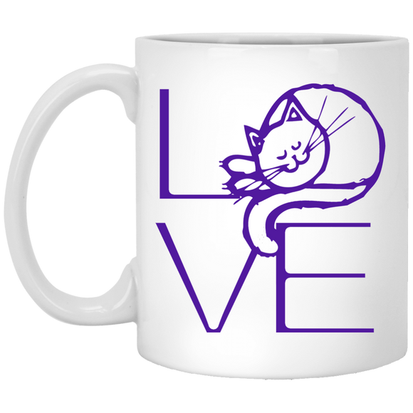 LOVE Cat 11 and 15 oz White Mugs