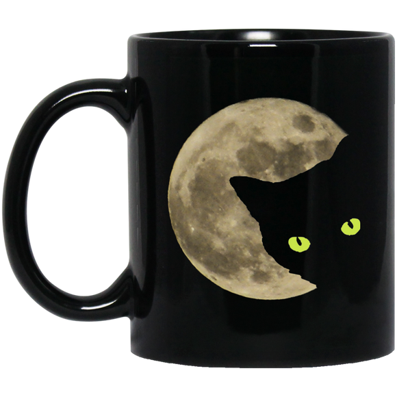 Moon Cat 11 and 15 oz Black Mugs