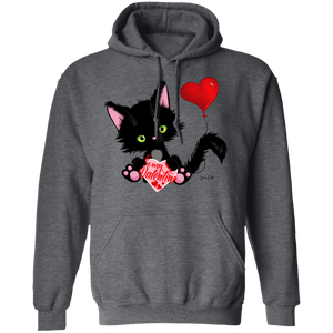 Lucky the Black Cat with Valentine Pullover Hoodie