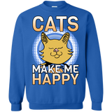 Cats Make Me Happy Crewneck Pullover Sweatshirt