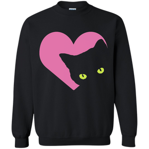 Black Cat Heart Crewneck Pullover Sweatshirt