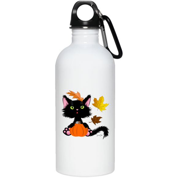 Lucky the Black Cat with Pumpkin 20 oz. Stainless Steel Water Bottle