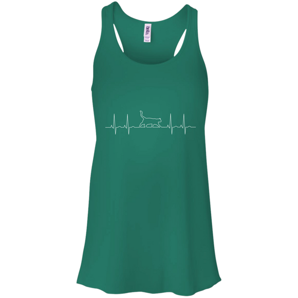 Walking Cat Heartbeat Flowy Racerback Tank