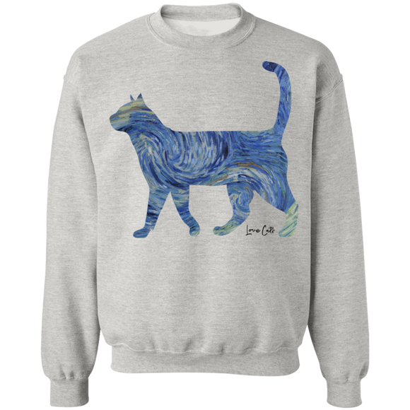 Starry Night Tabby Crewneck Pullover Sweatshirt