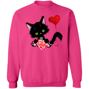 Lucky the Black Cat with Valentine Crewneck Pullover Sweatshirt