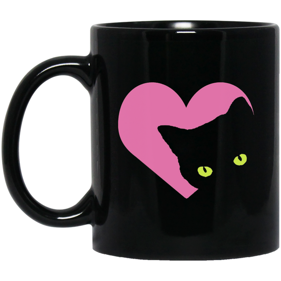 Black Cat Heart 11 and 15 oz Black Mugs
