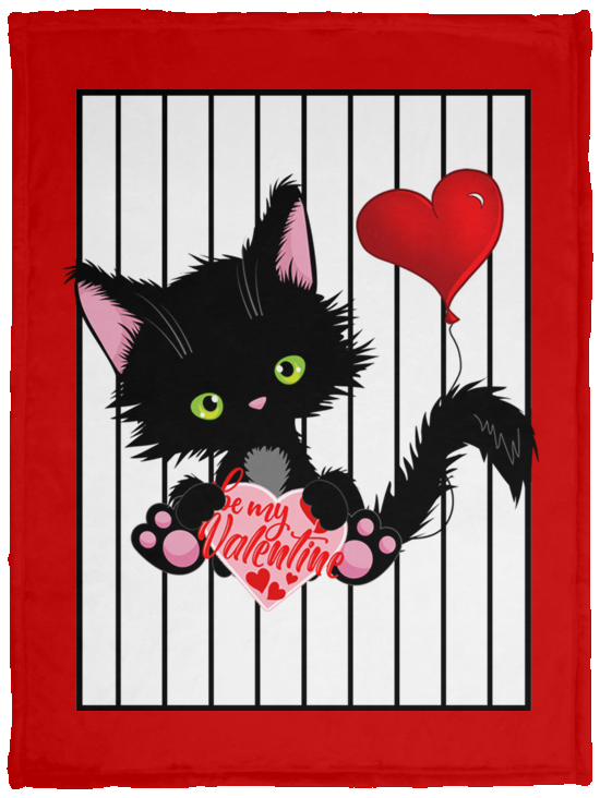Lucky the Black Cat with Valentine Cozy Plush Fleece Blankets