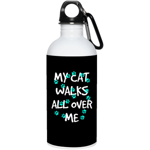 My Cat Walks All Over Me - Turquoise Pawprints Water Bottle