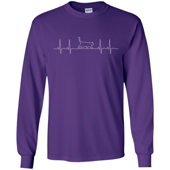 Walking Cat Heartbeat LS Ultra Cotton T-Shirt