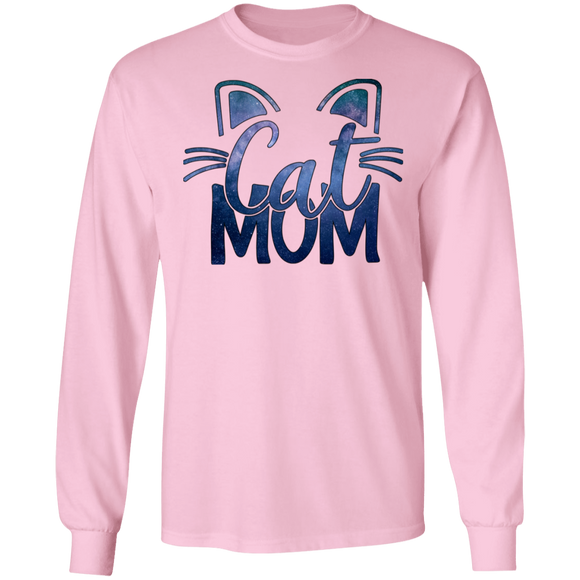 Cat Mom in Blue LS Ultra Cotton T-Shirt