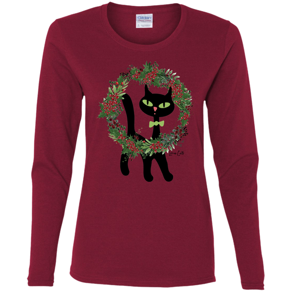 Victor in Christmas Wreath Ladies Long Sleeve T-Shirts