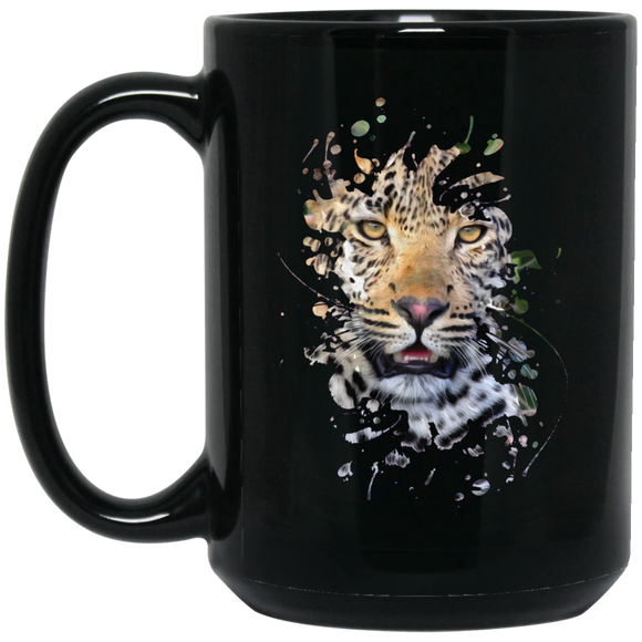 Disappearing Leopard 11 and 15 oz Black Mugs