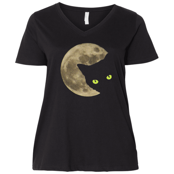 Moon Cat Ladies Curvy T-Shirts