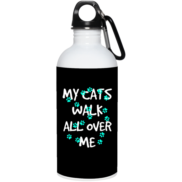My Cats Walk All Over Me - Turquoise Pawprints Water Bottle